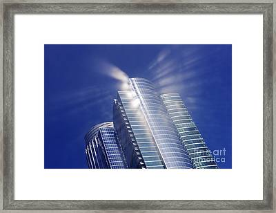 Sunlight Reflected Off An Office Building Framed Print by Jeremy Woodhouse