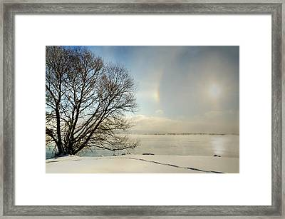 Sunlight Refracted In Hexagonal Ice Crystals Framed Print by Gail Shotlander