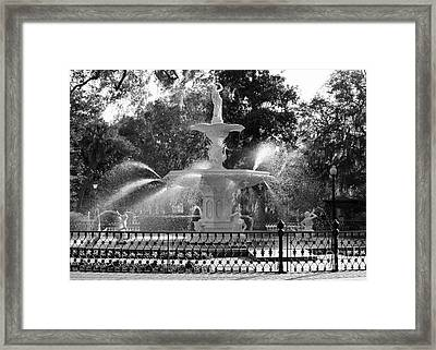 Sunlight Through Savannah Fountain Framed Print by Carol Groenen
