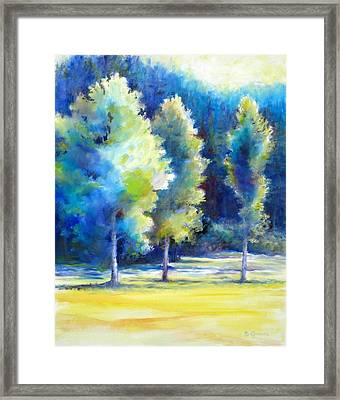 Sunlit Trees Framed Print by Bonnie Goedecke