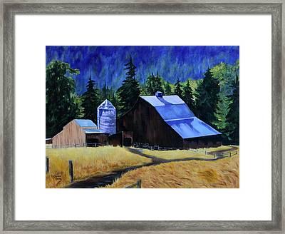Sunlite Barn Framed Print by Donna Drake