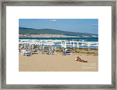 Sunny Beach Bulgaria Framed Print by Donald Davis