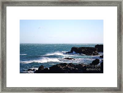 Framed Print featuring the photograph Sunny Day And Stormy Sea 4 by Kathleen Pio
