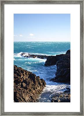 Sunny Day And Stormy Sea Framed Print