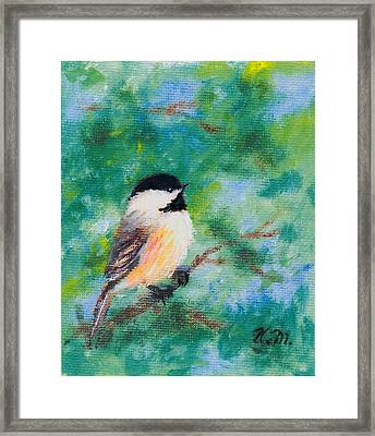 Framed Print featuring the painting Sunny Day Chickadee - Bird 1 by Kathleen McDermott