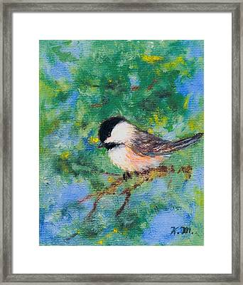 Framed Print featuring the painting Sunny Day Chickadee - Bird 2 by Kathleen McDermott