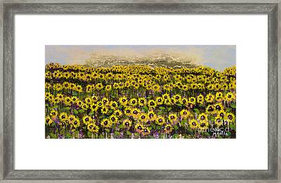 Sunny Field Series With Gold Leaf By Vic Mastis Framed Print by Vic  Mastis