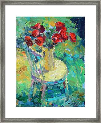 Sunny Impressionistic Rose Flowers Still Life Painting Framed Print