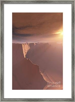 Sunrays Shine Down On This Canyon Framed Print by Corey Ford