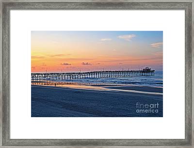 Sunrise At Cherry Grove Pier Framed Print by Bob and Nancy Kendrick