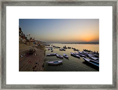 Sunrise At Ganges River Framed Print