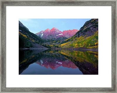 Sunrise At Maroon Bells Framed Print by Carolyn Dalessandro