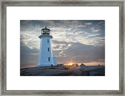 Sunrise At Peggys Cove Lighthouse In Nova Scotia Number 041 Framed Print by Randall Nyhof