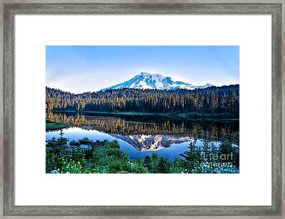Sunrise At Reflection Lake Framed Print