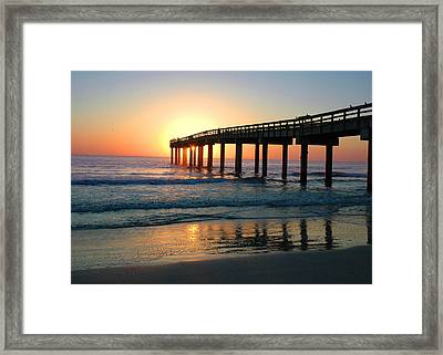 Sunrise At The Pier Framed Print