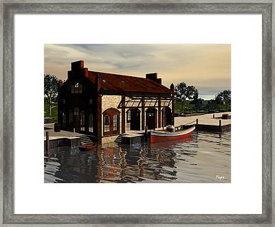Framed Print featuring the digital art Sunrise At The Wharf by John Pangia