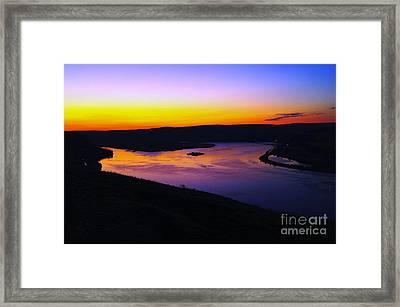 Sunrise At Wishram  Framed Print by Jeff Swan