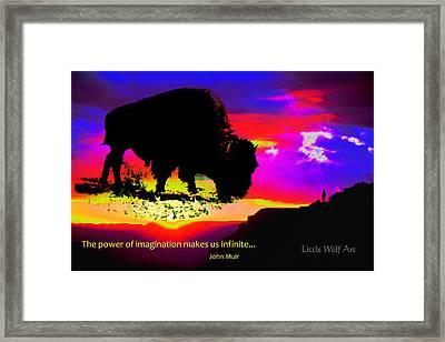 Sunrise Bison Collage Framed Print
