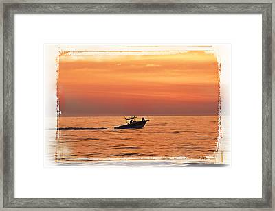Framed Print featuring the photograph Sunrise Boat Ride by Janie Johnson