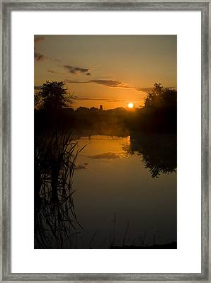 Sunrise By A Lake Framed Print by Pixie Copley