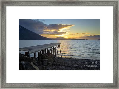 Sunrise Dock Framed Print