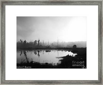 Framed Print featuring the photograph Sunrise Drilling by John Burns