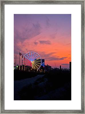 Sunrise Ferris Wheel Framed Print