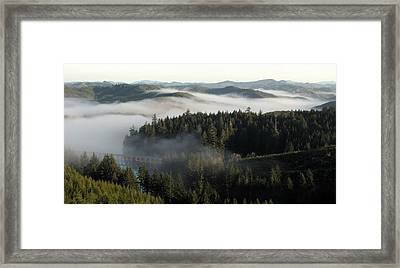 Framed Print featuring the photograph Sunrise Fog And Bridge by Katie Wing Vigil