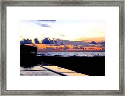 Sunrise In Galveston Framed Print by Mark Longtin