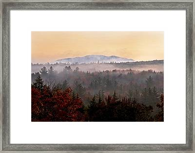 Sunrise In The East On The Kancamagus Highway Framed Print by Gordon Ripley