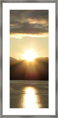 Sunrise In The Fjord Framed Print by Judy Garrett