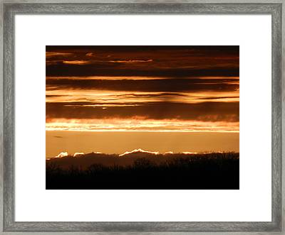 Sunrise In Waves Framed Print by Dennis Leatherman