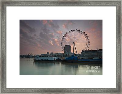 Sunrise London Eye Framed Print by Donald Davis