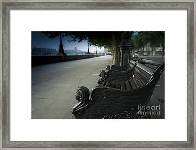 Sunrise On A London Bench Framed Print by Donald Davis
