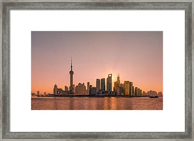 Sunrise On Bund Framed Print by Viktor Chan Photography