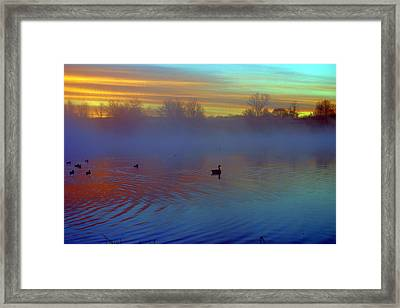 Sunrise On Duck Pond Framed Print by Laurie Prentice