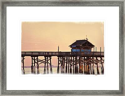 Framed Print featuring the photograph Sunrise On Rickety Pier by Janie Johnson