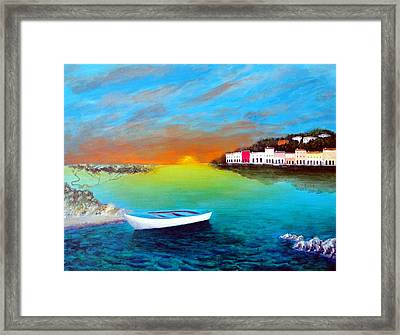 Framed Print featuring the painting Sunrise On The Riviera by Larry Cirigliano