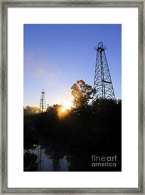 Sunrise On The Sabine Framed Print by Kathy  White