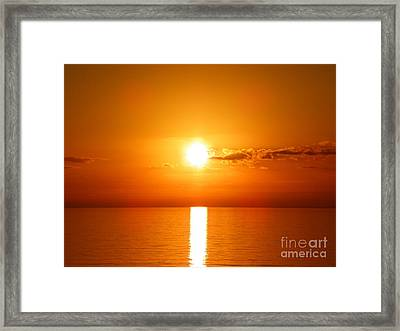 Framed Print featuring the photograph Sunrise Orange Skies by Eve Spring