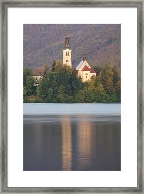 Sunrise Over Lake Bled And The Island Church Framed Print