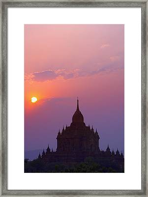 Sunrise Over Stupa Temple In Bagan Framed Print by Carson Ganci