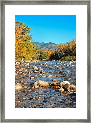 Sunrise Over The Saco Vertical Framed Print by Geoffrey Bolte