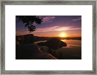 Sunrise Over Wizard Island At Crater Framed Print