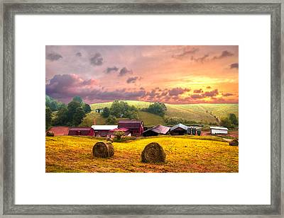 Sunrise Pastures Framed Print by Debra and Dave Vanderlaan