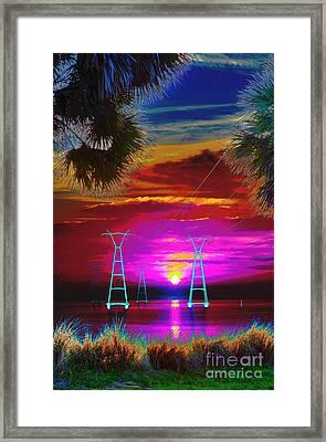 Sunrise Psychedelic Framed Print by Lynda Dawson-Youngclaus