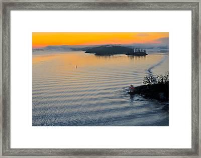 Framed Print featuring the photograph Sunrise Ryssmasterna Lighthouse Sweden by Marianne Campolongo