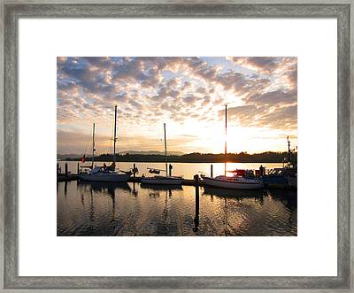 Sunrise Sailboats On Coos Bay Framed Print by Gary Rifkin