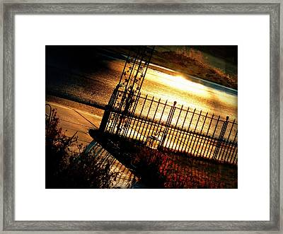 Framed Print featuring the photograph Sunrise Street Reflections by Cindy Wright