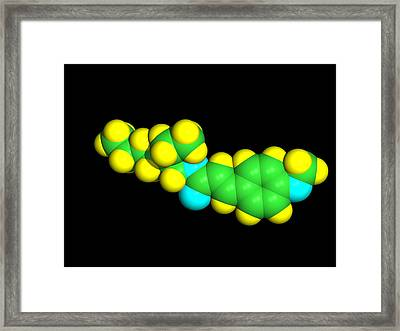 Sunscreen Chemical Molecule Framed Print by Dr Tim Evans